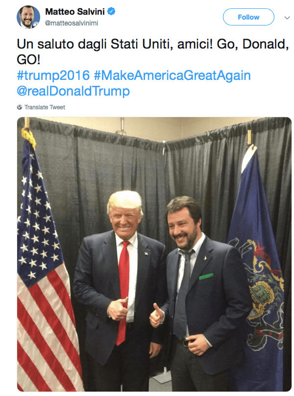 Salvini's tweet from Pennsylvania, April 2016