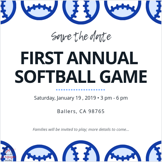 Save the Date First Annual Softball Game