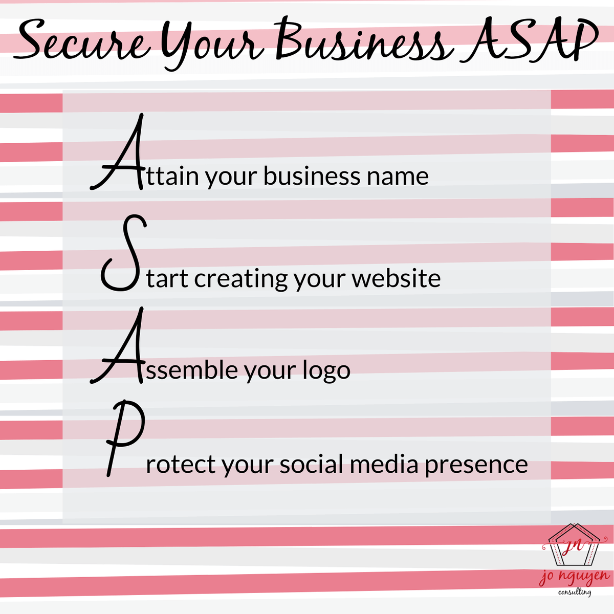 Jo Nguyen Consulting freebie on how to secure your business ASAP