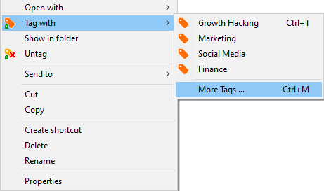Connect a tag, file or folder and paste it using the windows file explorer context menu.