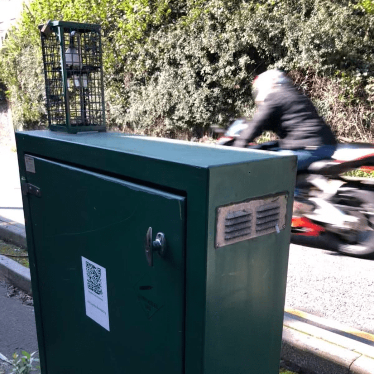 An air pollution monitor on Hafodyrynys Road, Wales, where houses are set to be demolished to remove exposure to air pollution