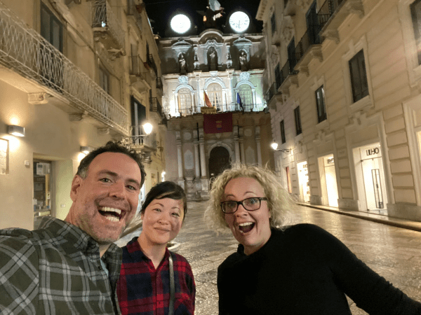 Michael, Korrin and me on our first night in Trapani. How do those two look so awake?
