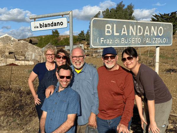 Family photo in front of Blandano where Great Grandpa Pietro Mazzara is from!