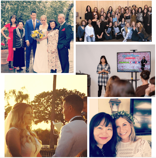 Clockwise from top left: Brother's wedding in March, Christine Hassler's Signature Retreat, my Financial Freedom for Freelancers Workshop, Friend Amy's shower & Friends Chris & Stephanie's Wedding