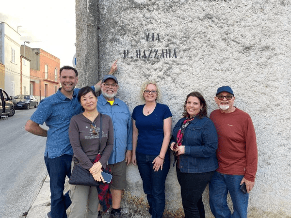 We found a street with the family name! It's Via P. Mazzara, and there are two P's - Paul and Peter Mazzara in this photo!