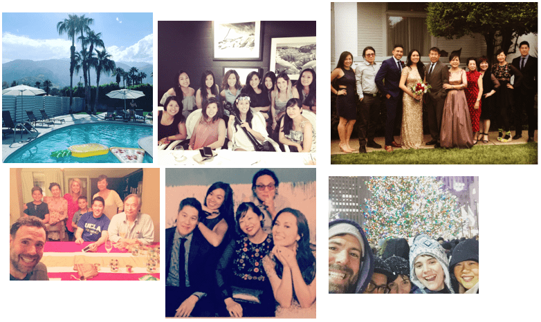 Clockwise from top left: Palm Springs backyard pool, Tina's Bachelorette Party, Tina's Wedding Family Picture, Thanksgiving with Carla and the boys, Cousins at Tina's Wedding, December in NYC