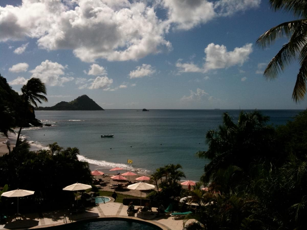 The view from my hotel balcony in St. Lucia.