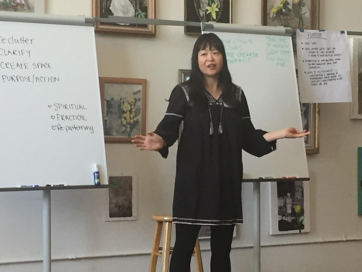 Talking about how to worry less about money at Stress Less, Do More Workshop Sunday, March 24, 2019.