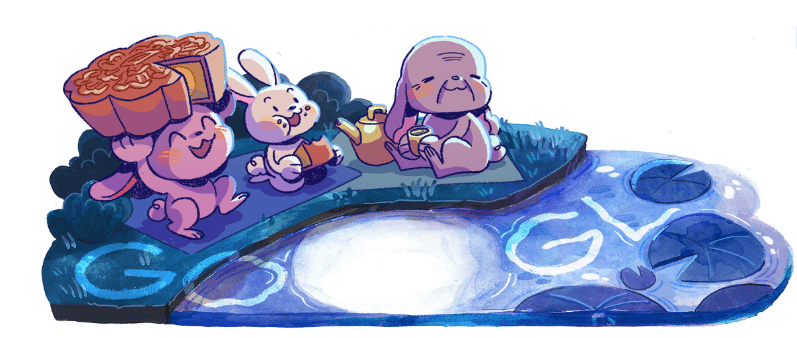 Google's image for Moon Festival Day, Doodle by Cynthia Yuan Cheng