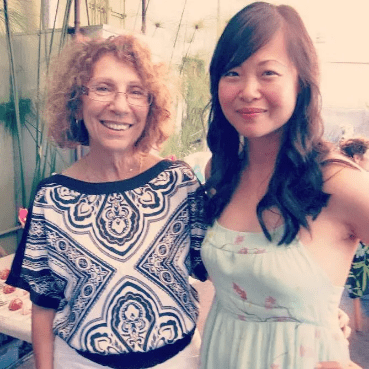 My mother-in-law, Hermine, and I at my bridal shower.