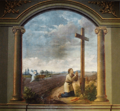 Saint Isidore the Farmer at prayer while the angel plows his field