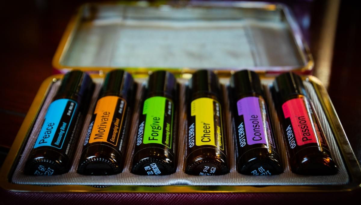 Emotional Aromatherapy Blends in a Purple Carry Case