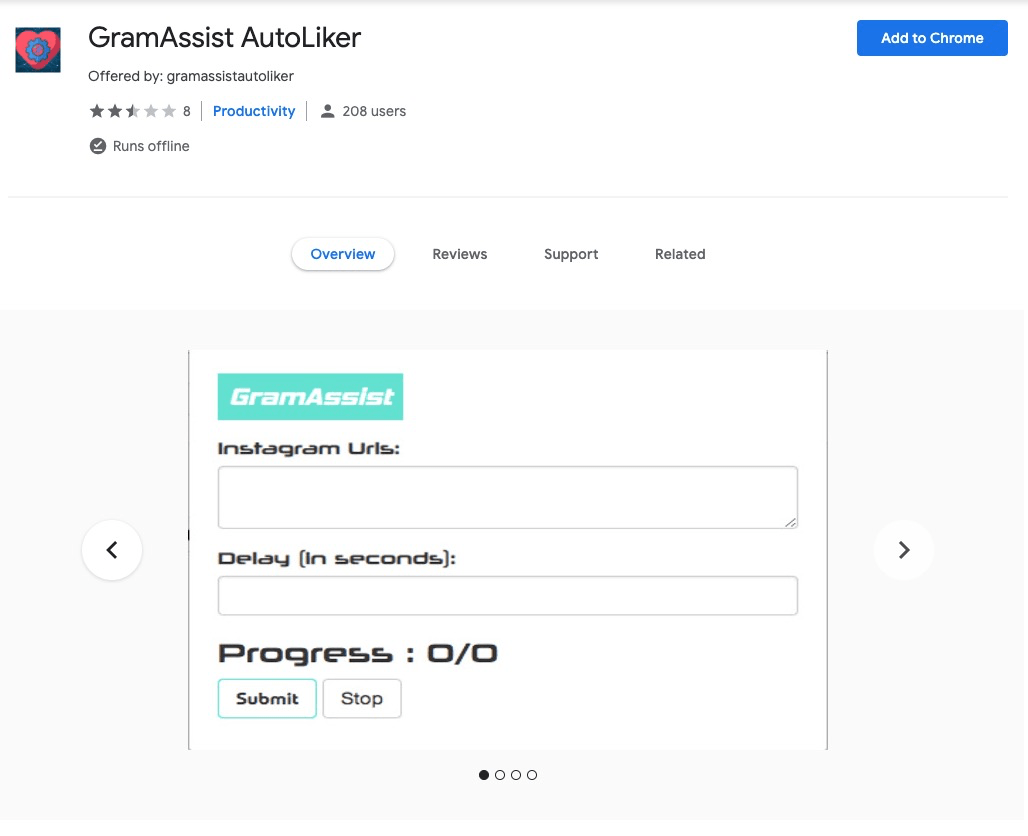 GramAssist AutoLiker Chrome Extension