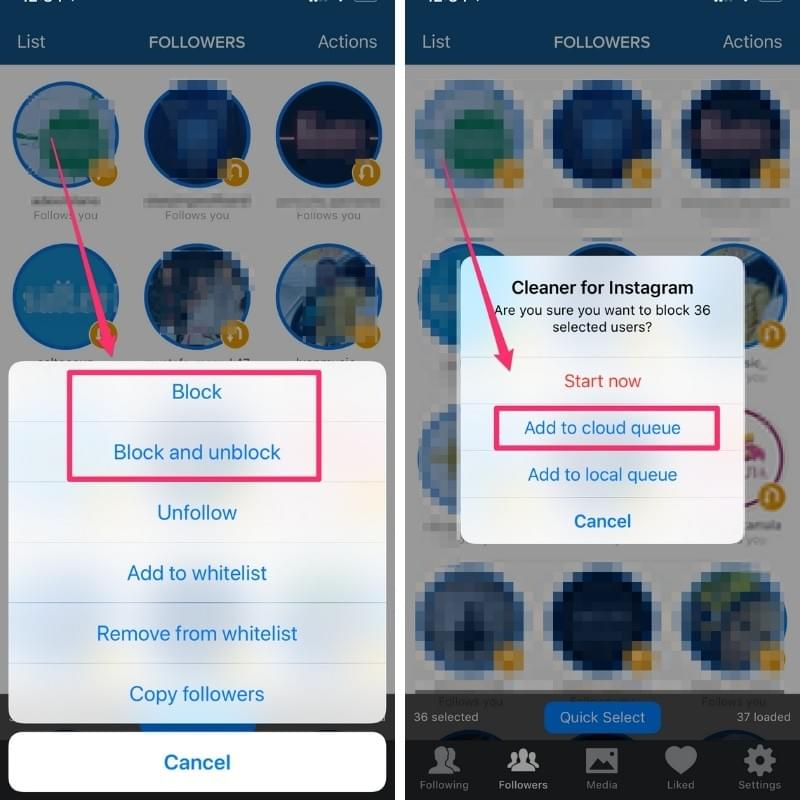How to get rid of ghost followers - block and add to cloud queue on Cleaner for Instagram app