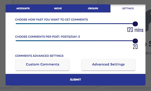 Fuelgram -  comment pods - set how fast you want comments and number of comments per day