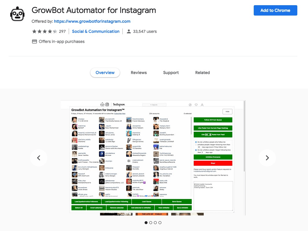 Chrome Extension: Growbot Automator for Instagram