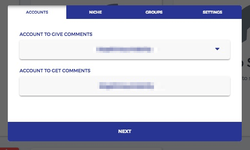 Fuelgram - comment group - set up your giver and receiver accounts
