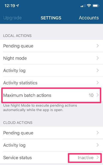 Cleaner for Instagram IOS and Android: Set maximum batch actions