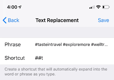 Instagram hashtags HACK: Add Text Replacement