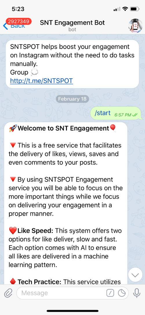 Infinicore Alternative - The Free SNT Engagement Bot (Telegram)