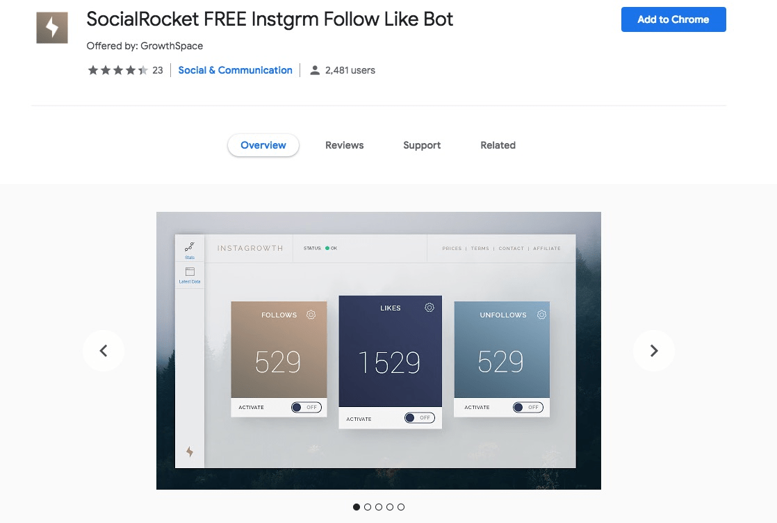 SocialRocket: Free Instagram Follow Like Bot Chrome Extension