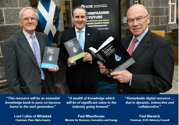 Lord Cullen, Paul Wheelhouse and Paul Warwick at the publication launch, University of Aberdeen