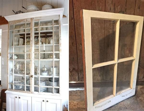 Antique Windows used to replace doors on hutch
