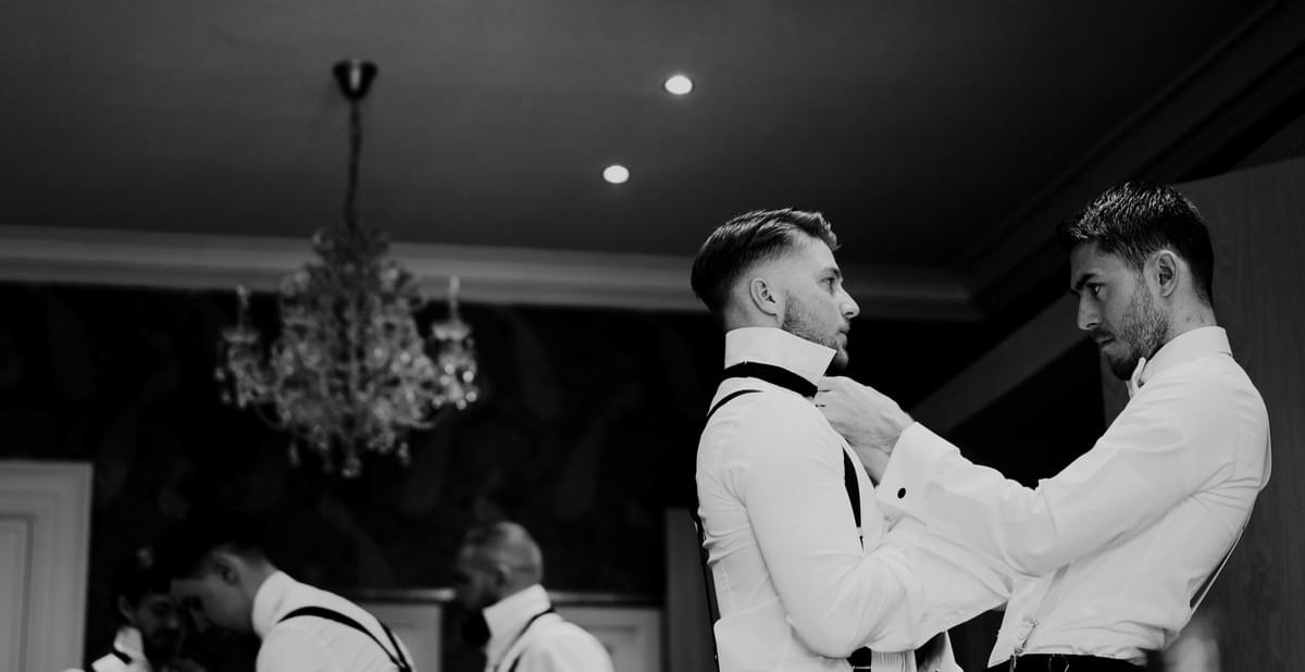groom, groomsmen, eaves hall wedding, Lancashire wedding videographer