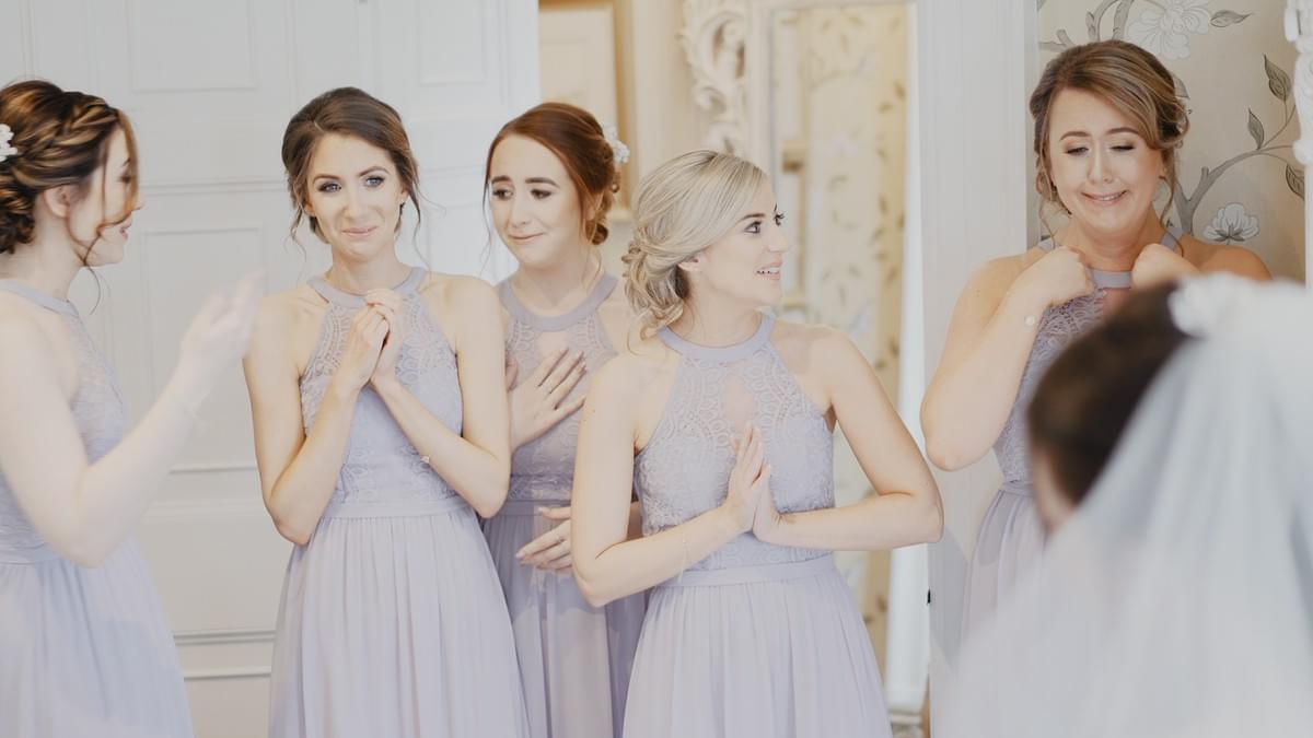 bridesmaids, bridal party, eaves hall wedding, wedding dress