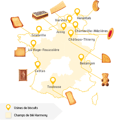 carte des lieux de production des biscuits LU en France