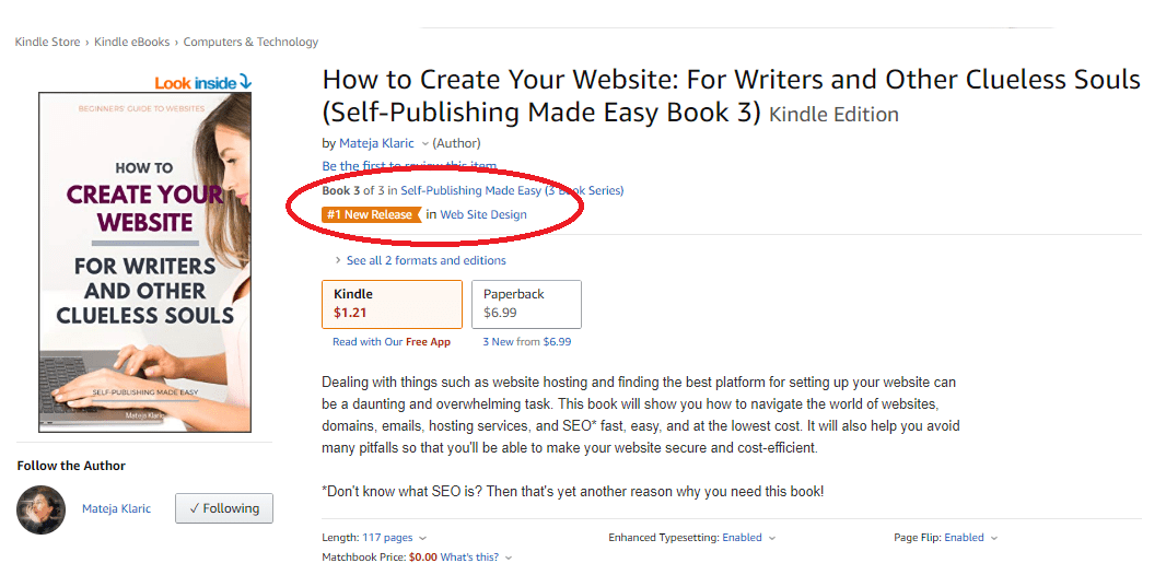 #1 New Release How to Create Your Website: For Writers and Other Clueless Souls by Mateja Klaric