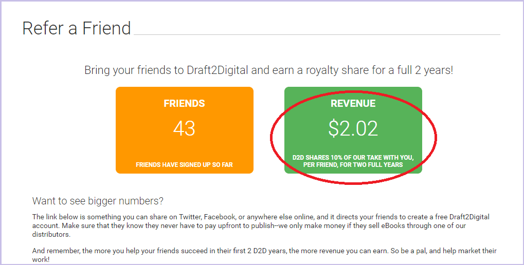 Refer a friend - Draft2Digital revenue Mateja Klaric
