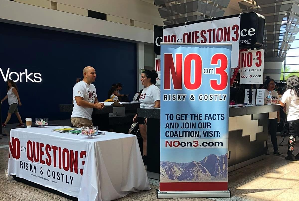 NO on Question 3 Booth La Opportunidad Expo BLVD Mall August 4, 2018. Photo by Suzanne Morales