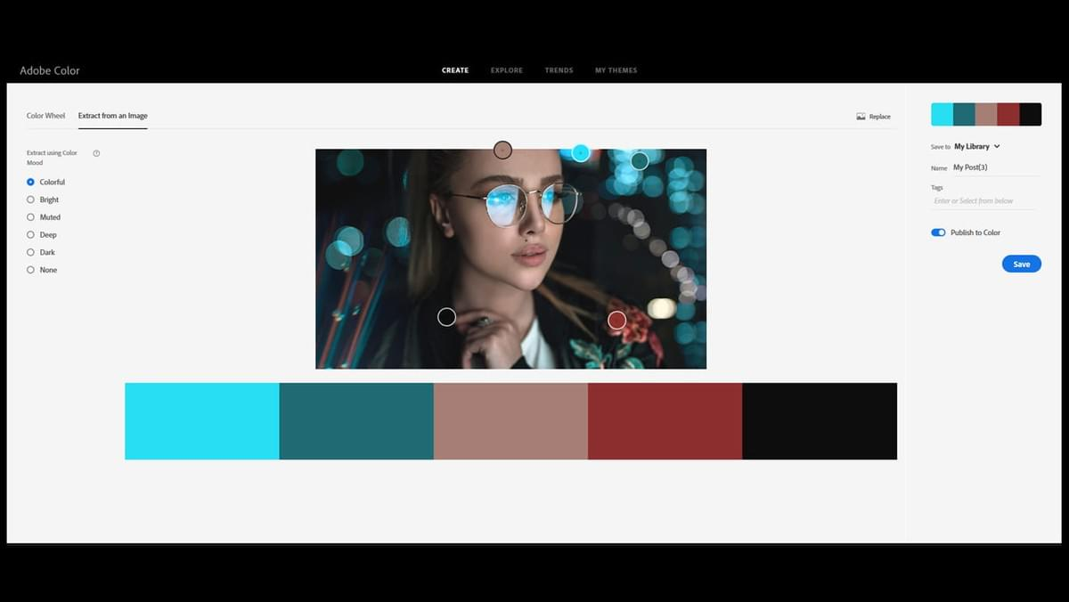 Screenshot of adobe color website