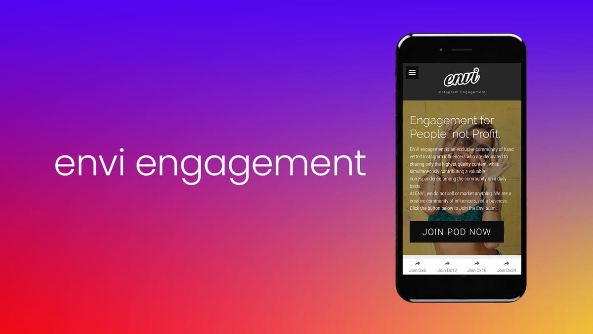 Image of Phone, Screen Displaying Envi Instagram Engagement Website