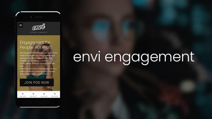 Image of Cellphone with Envi Engagement for Instagram Website