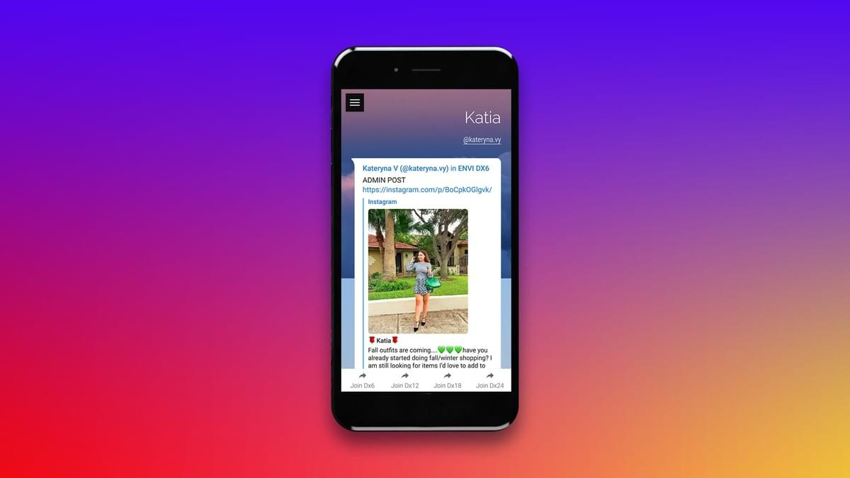 Image of Phone, Screen Displaying Envi Instagram Engagement Admin Page