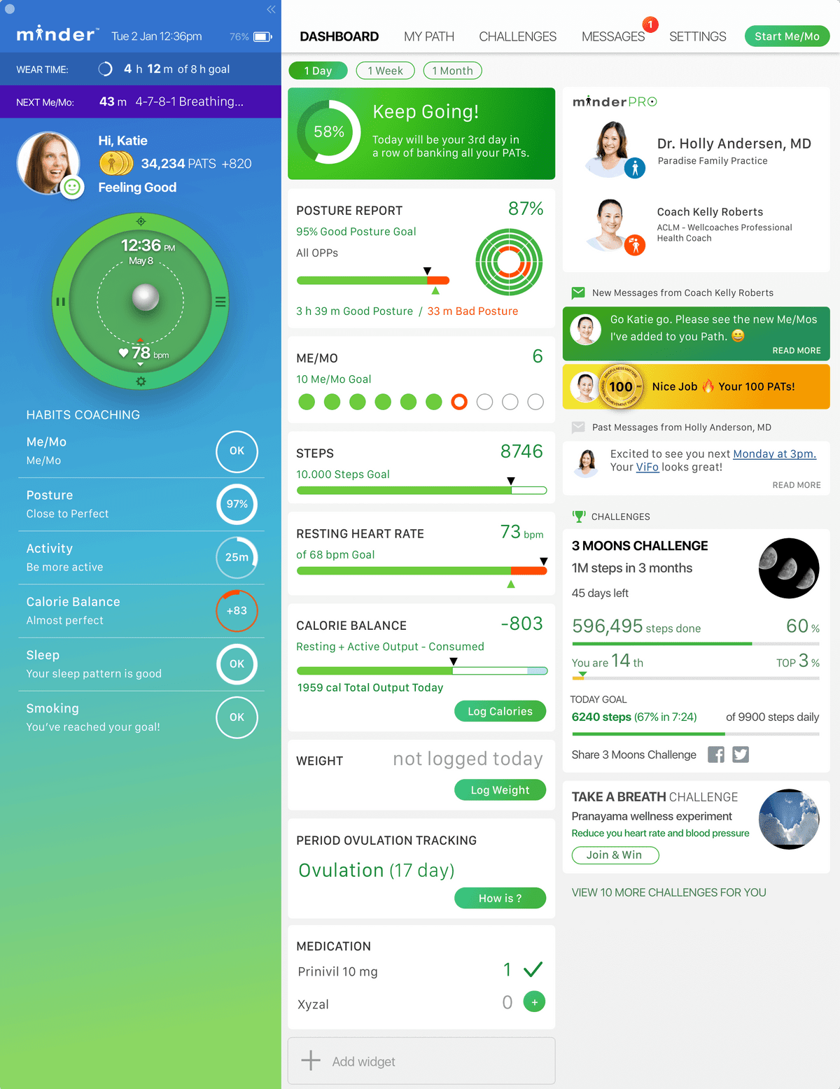 Mindee health and wellness dashboard that displays goals progress, coach messages, and key biofeedback data such as heart rate, steps taken and weight.