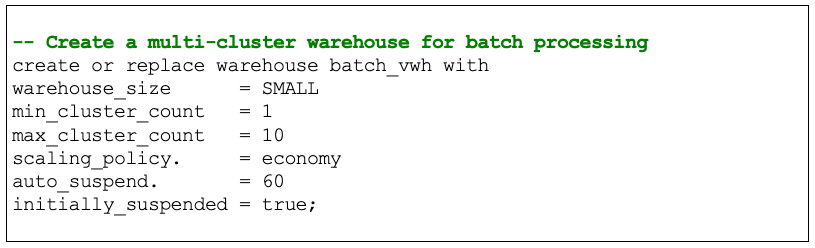SQL to create a multi-cluster virtual warehouse for batch processing