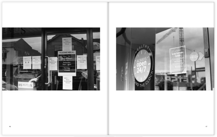 Taking photographs of the signs up in shop windows through the early stages of the COVID-19 lockdown in Melbourne