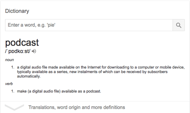 "Podcast ist laut Definiton: ""a digital audio file"""