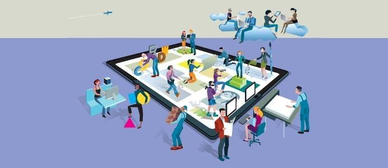 A graphic of people working with various devices on top of a tablet and sitting in clouds
