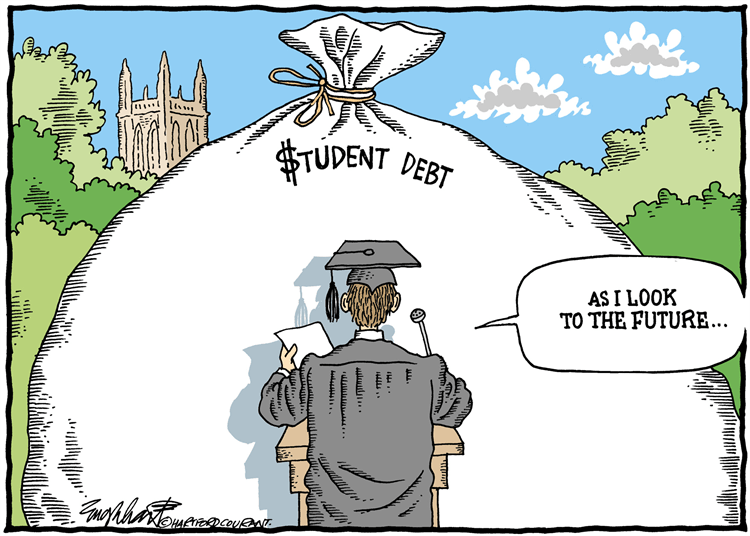 "A cartoon of a college graduate in cap and gown giving a speech beginning with ""as I look to the future..."" while the audience is a giant bag of student debt."