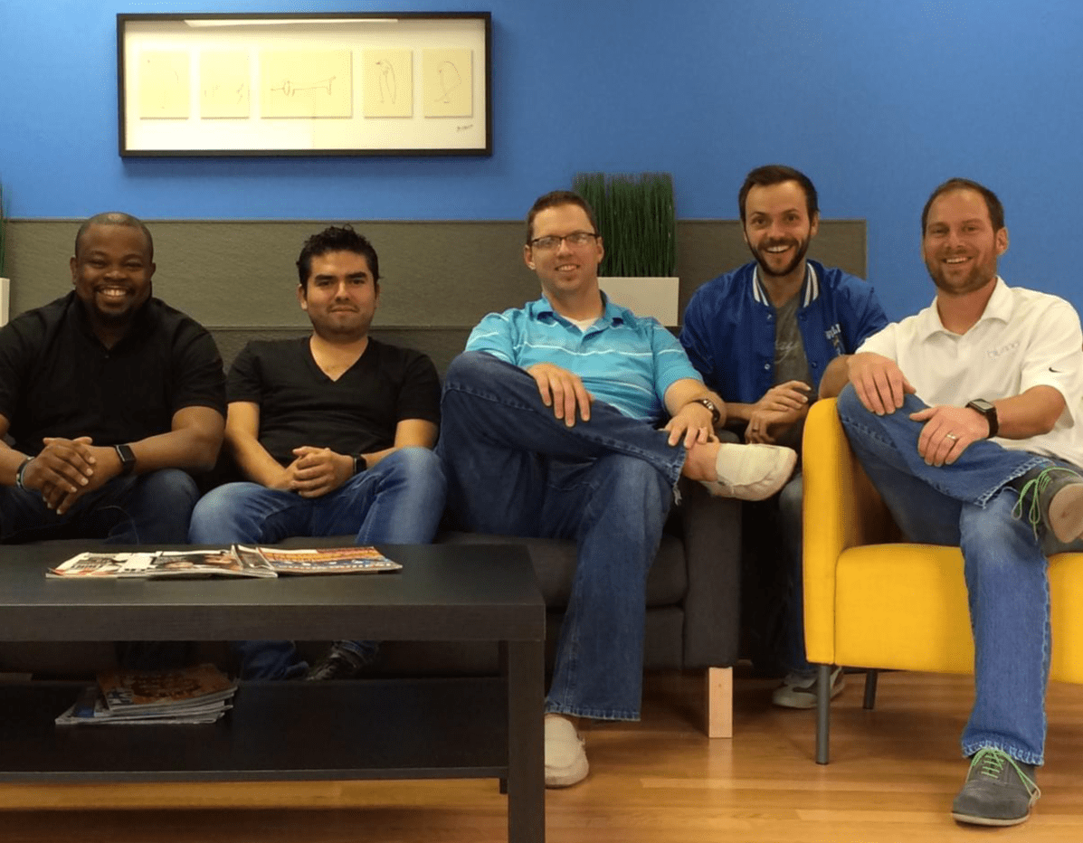 Tech Startup Life: The men of Blumoo. 4 regular dudes and our Costa Rican coder was in town