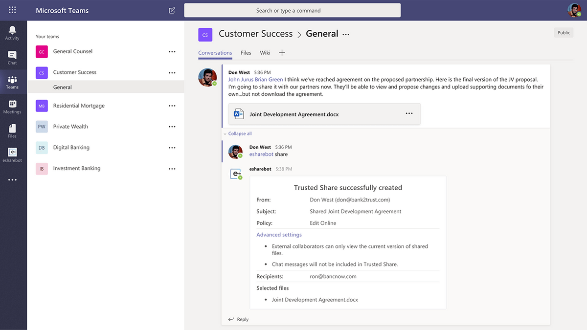 e-Share.us | screen shot of the e-Share External Collaboration Bot for Microsoft Teams in action