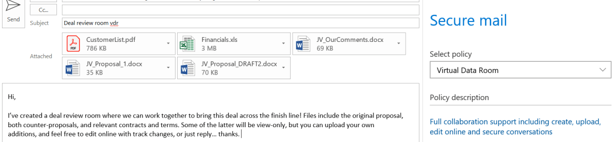 "e-Share.us | Virtual Data Rooms | Screen shot of Microsoft Outlook Online being used to send an email regarding ""deal review"" being sent outside the company with the ""Virtual Data Room"" policy selected"