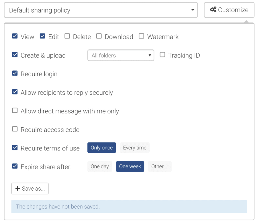 e-Share.us | Fine Grained Sharing Options | Screen shot of options from the Trusted Sharing dialog box showing View, Edit, Delete, Download, Watermark, Create & Upload, Require Login, Require Access Code, Require Terms of Use, Expire Share Automatically and more