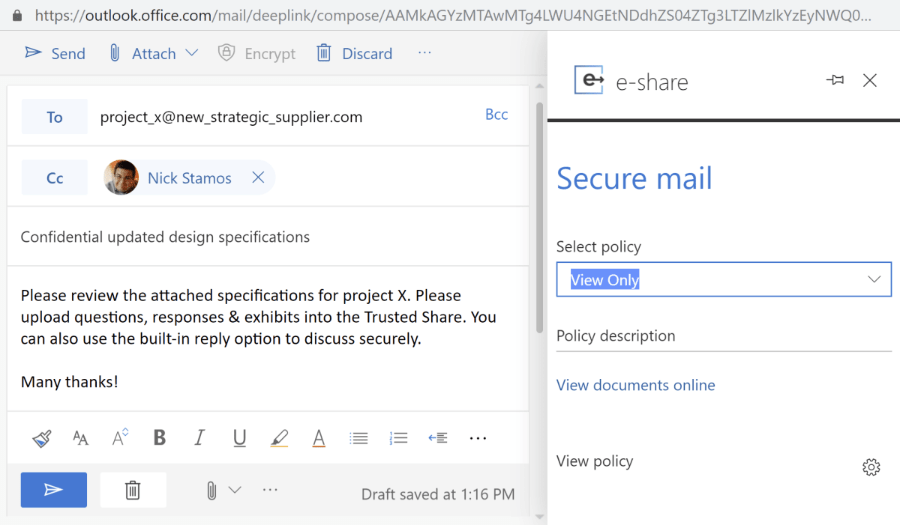 e-Share.us | Governance and Compliance | Screen shot of Office 365 being used to compose secure mail with view only policy