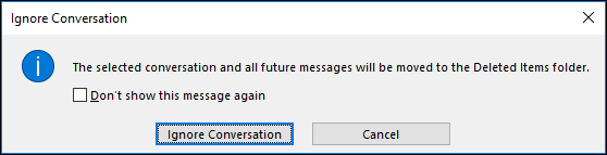 Outlook Ignore Conversation Window