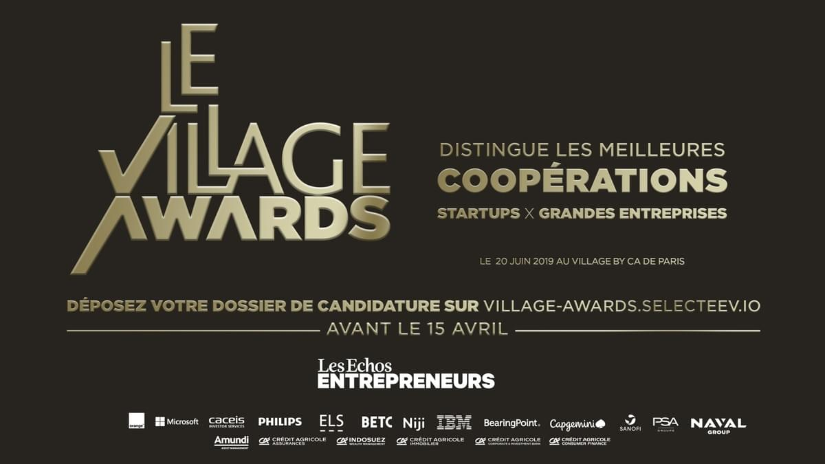 village awards, village awards 2019, cérémonie village by ca, concours village by ca, relation grands groupes startups
